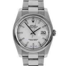 Pre-owned Rolex Mens New Style Datejust Watch - Stainless Steel White Stick Dial & Smooth Bezel On An Oyster Band 116200 Model