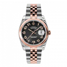 New Rolex Mens New Style Datejust Watch - 18K Two Tone Rose Gold Black Concentric Arabic  Dial - Domed/ Smooth Bezel - Jubilee Bracelet 36 MM 116201