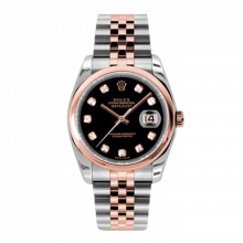New Rolex Mens New Style Datejust Watch - 18K Two Tone Rose Gold  Black Diamond Dial - Domed/ Smooth Bezel - Jubilee Bracelet 36 MM 116201
