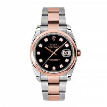New Rolex Mens New Style Datejust Watch - 18K Two Tone Rose Gold  Black Diamond Dial - Domed/ Smooth Bezel - Oyster Bracelet 36 MM 116201