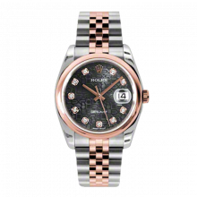 New Rolex Mens New Style Datejust Watch - 18K Two Tone Rose Gold  Black Jubilee Diamond Dial - Domed/ Smooth Bezel - Jubilee Bracelet 36 MM 116201