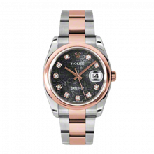 New Rolex Mens New Style Datejust Watch - 18K Two Tone Rose Gold  Black Jubilee Diamond Dial - Domed/ Smooth Bezel - Oyster Bracelet 36 MM 116201