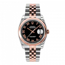 New Rolex Mens New Style Datejust Watch - 18K Two Tone Rose Gold  Black Roman Dial - Domed/ Smooth Bezel - Jubilee Bracelet 36 MM 116201