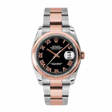 New Rolex Mens New Style Datejust Watch - 18K Two Tone Rose Gold  Black Roman Dial - Domed/ Smooth Bezel - Oyster Bracelet 36 MM 116201
