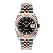 New Rolex Mens New Style Datejust Watch - 18K Two Tone Rose Gold  Black Index Dial - Domed/ Smooth Bezel - Jubilee Bracelet 36 MM 116201