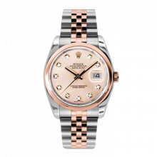 New Rolex Mens New Style Datejust Watch - 18K Two Tone Rose Gold Pink Champagne Diamond Dial - Domed/ Smooth Bezel - Jubilee Bracelet 36 MM 116201