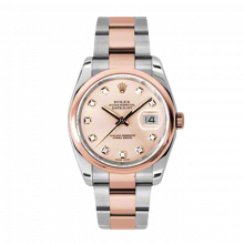 New Rolex Mens New Style Datejust Watch - 18K Two Tone Rose Gold Pink Champagne Diamond Dial - Domed/ Smooth Bezel - Oyster Bracelet 36 MM 116201