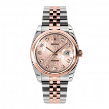 New Rolex Mens New Style Datejust Watch - 18K Two Tone Rose Gold Pink Champagne Jubilee Diamond Dial - Domed/ Smooth Bezel - Jubilee Bracelet 36 MM 116201