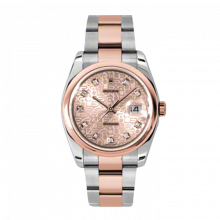 New Rolex Mens New Style Datejust Watch - 18K Two Tone Rose Gold Pink Champagne Jubilee Diamond Dial - Domed/ Smooth Bezel - Oyster Bracelet 36 MM 116201