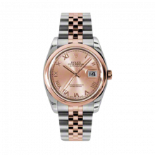 New Rolex Mens New Style Datejust Watch - 18K Two Tone Rose Gold Pink Champagne Roman Dial - Domed/ Smooth Bezel - Jubilee Bracelet 36 MM 116201