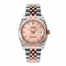 New Rolex Mens New Style Datejust Watch - 18K Two Tone Rose Gold Pink Champagne Index Dial - Domed/ Smooth Bezel - Jubilee Bracelet 36 MM 116201
