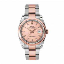New Rolex Mens New Style Datejust Watch - 18K Two Tone Rose Gold Pink Champagne Index Dial - Domed/ Smooth Bezel - Oyster Bracelet 36 MM 116201