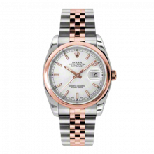 New Rolex Mens New Style Datejust Watch - 18K Two Tone Rose Gold  Silver Index Dial - Domed/ Smooth Bezel - Jubilee Bracelet 36 MM 116201