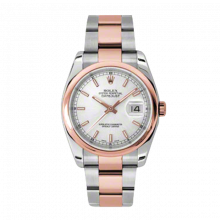 New Rolex Mens New Style Datejust Watch - 18K Two Tone Rose Gold  Silver Index Dial - Domed/ Smooth Bezel - Oyster Bracelet 36 MM 116201