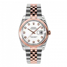 New Rolex Mens New Style Datejust Watch - 18K Two Tone Rose Gold  White Diamond Dial - Domed/ Smooth Bezel - Jubilee Bracelet 36 MM 116201