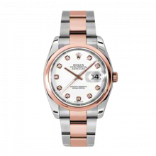 New Rolex Mens New Style Datejust Watch - 18K Two Tone Rose Gold  White Diamond Dial - Domed/ Smooth Bezel - Oyster Bracelet 36 MM 116201