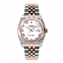 New Rolex Mens New Style Datejust Watch - 18K Two Tone Rose Gold  White Roman Dial - Domed/ Smooth Bezel - Jubilee Bracelet 36 MM 116201