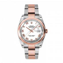 New Rolex Mens New Style Datejust Watch - 18K Two Tone Rose Gold  White Roman Dial - Domed/ Smooth Bezel - Oyster Bracelet 36 MM 116201