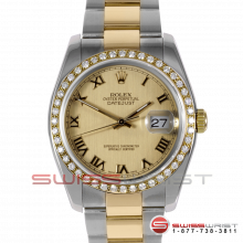 Rolex Men's New Style Datejust Two Tone Champagne Roman Dial & Diamond Bezel On An Oyster Band 116203 Model