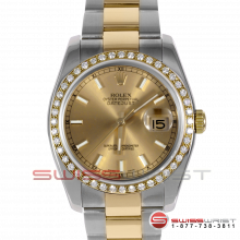 Rolex Men's New Style Datejust Two Tone Champagne Stick Dial & Diamond Bezel On An Oyster Band 116203 Model
