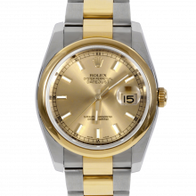 Pre-owned Rolex New Style Mens Datejust Watch - 18K Two Tone Yellow Gold  Steel and Champagne Stick Marker  Dial - Domed/ Smooth Bezel - Oyster Bracelet 36 MM 116203