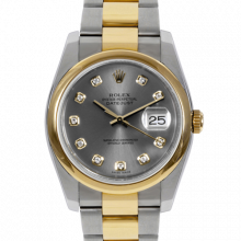 Pre-owned Rolex Mens New Style Datejust Watch - Two Tone Factory Slate Diamond Dial & Smooth Bezel On An Oyster Band 116203 Model