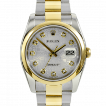 Pre-owned Rolex Mens Two Tone Datejust Watch - Model 116203 with Silver Jubilee Diamond Dial - Smooth Bezel - Oyster band