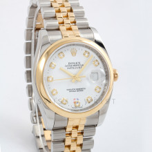 Rolex Datejust 36 116203 Yellow Gold & Steel w/ White Diamond Dial Domed Bezel on Jubilee Bracelet, Men's Pre-Owned Watch
