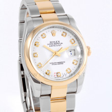 Rolex 116203 Mens Datejust 36mm Yellow Gold & Stainless Steel w/ White Diamond Dial and Smooth Bezel with New Style Oyster Bracelet - Pre-Owned