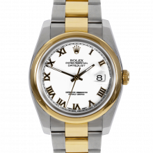Pre-owned Rolex Mens New Style Datejust Watch - Two Tone White Roman Dial & Smooth Bezel On An Oyster Band 116203 Model