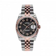 New Rolex Mens New Style Datejust Watch - 18K Two Tone Rose Gold Black Concentric Arabic  Dial - 18K Fluted Bezel - Jubilee Bracelet 36 MM 116231