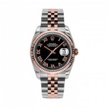 New Rolex Mens New Style Datejust Watch - 18K Two Tone Rose Gold  Black Roman Dial - 18K Fluted Bezel - Jubilee Bracelet 36 MM 116231