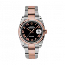 New Rolex Mens New Style Datejust Watch - 18K Two Tone Rose Gold  Black Roman Dial - Fluted Bezel - Oyster Bracelet 36 MM 116231