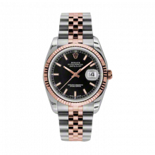 New Rolex Mens New Style Datejust Watch - 18K Two Tone Rose Gold  Black Index Dial - 18K Fluted Bezel - Jubilee Bracelet 36 MM 116231