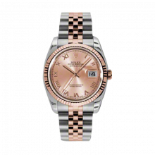 New Rolex Mens New Style Datejust Watch - 18K Two Tone Rose Gold Pink Champagne Roman Dial - 18K Fluted Bezel - Jubilee Bracelet 36 MM 116231