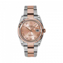 New Rolex Mens New Style Datejust Watch - 18K Two Tone Rose Gold Pink Champagne Roman Dial - Fluted Bezel - Oyster Bracelet 36 MM 116231