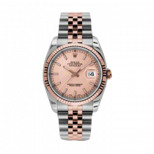 New Rolex Mens New Style Datejust Watch - 18K Two Tone Rose Gold Pink Champagne Index Dial - 18K Fluted Bezel - Jubilee Bracelet 36 MM 116231