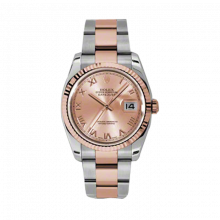New Rolex Mens New Style Datejust Watch - 18K Two Tone Rose Gold Pink Champagne Index Dial - Fluted Bezel - Oyster Bracelet 36 MM 116231