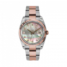 New Rolex Mens New Style Datejust Watch - 18K Two Tone Rose Gold Pink Champagne Dark Mother of Pearl Diamond Dial - 18K Fluted Bezel - Oyster Bracelet 36 MM 116231