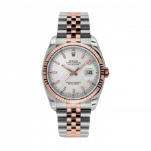 New Rolex Mens New Style Datejust Watch - 18K Two Tone Rose Gold  Silver Index Dial - 18K Fluted Bezel - Jubilee Bracelet 36 MM 116231