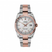 New Rolex Mens New Style Datejust Watch - 18K Two Tone Rose Gold  Silver Index Dial - Fluted Bezel - Oyster Bracelet 36 MM 116231