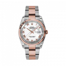 New Rolex Mens New Style Datejust Watch - 18K Two Tone Rose Gold  White Roman Dial - Fluted Bezel - Oyster Bracelet 36 MM 116231