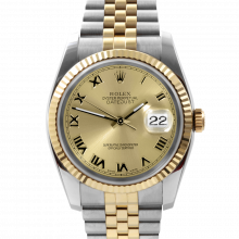 Pre-owned Rolex Mens New Style Datejust Watch - Two Tone Champagne Roman Dial & Fluted Bezel On A Jubilee Band 116233 Model