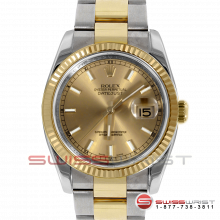 Pre-owned Rolex Mens New Style Datejust Watch - Two Tone Champagne Stick Dial & Fluted Bezel On An Oyster Band 116233 Model