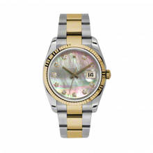 New Rolex Mens New Style Datejust Watch - 18K Two Tone Yellow Gold Dark Mother of Pearl Diamond Dial - 18K Fluted Bezel - Oyster Bracelet 36 MM 116233