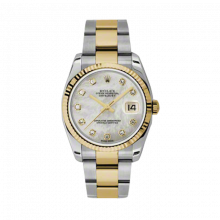New Rolex Mens New Style Datejust Watch - 18K Two Tone Yellow Gold Mother of Pearl Diamond Dial - 18K Fluted Bezel - Oyster Bracelet 36 MM 116233