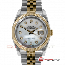 Pre-owned Rolex Mens New Style Datejust Watch - Two Tone  Mother Of Pearl Diamond Dial & Fluted Bezel On A Jubilee Band 116233 Model