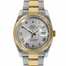 Pre-owned Rolex Mens New Style Datejust Watch - Two Tone Silver Roman Dial & Fluted Bezel On An Oyster Band 116233 Model