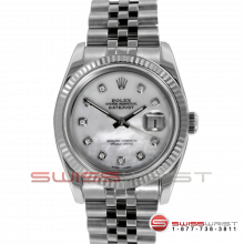 Pre-owned Rolex Mens New Style Datejust Watch - Stainless Steel Custom Mother Of Pearl Diamond Dial & Fluted Bezel On A Jubilee Band 116234 Model