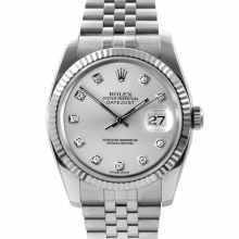 Pre-owned Rolex Mens New Style Datejust Watch - Stainless Steel CUSTOM Silver Diamond Dial & Fluted Bezel On A Jubilee Band 116234 Model